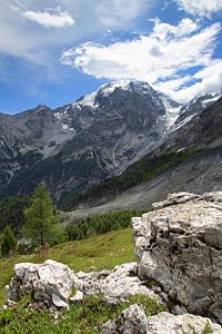 Una vista sui ghiacciai del massiccio dell'Ortles
